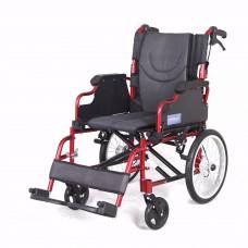 豪華鋁合金輪椅(椅背可摺疊)(紅色)