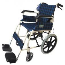 摺疊式白色支架便攜輪椅扶手可打開 (藍色格仔)