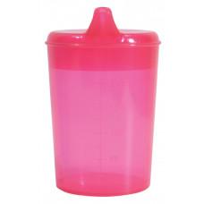 免瀉喝水杯跟兩個杯蓋 - 玫瑰紅色